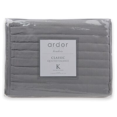 Ardor Boudoir Quilted Valance, King Single, Silver