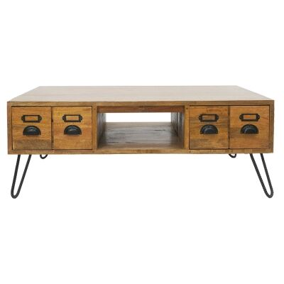 Leroy Mango Wood & Iron 4 Drawer Coffee Table, 120cm