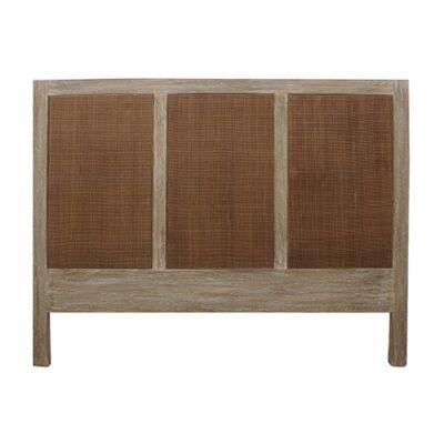 Balonne Mango Wood & Rattan Bed Headboard, Queen, Driftwood White Wash