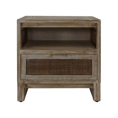 Balonne Mango Wood & Rattan Bedside Table, Driftwood White Wash