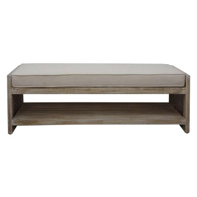 Balonne Mango Wood & Rattan Bedend Bench with Fabric Seat, 112cm, Grey Wash