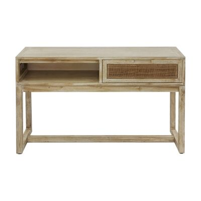 Balonne Mango Wood & Rattan Console Table, 120cm, Driftwood White Wash