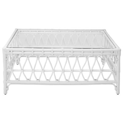 Albion Rattan Coffee Table, 100cm, White