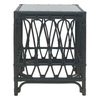 Albion Rattan Side Table, Black