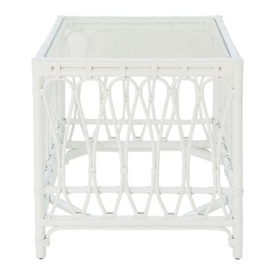 Albion Rattan Side Table, White