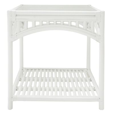 Martello Rattan Side Table, White