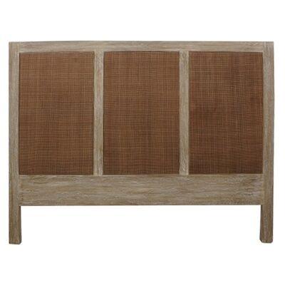 Balonne Mango Wood & Rattan Bed Headboard, King, Driftwood White Wash