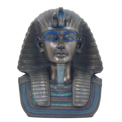 Cast Bronze Bust Sculpture of King Tutankhamun