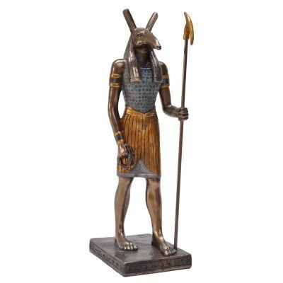 Veronese Cold Cast Bronze Coated Egyptian Mythology Figurine, Standing Seth