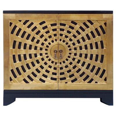 Saraba Brass Cladded Wooden 2 Door Accent Cabinet