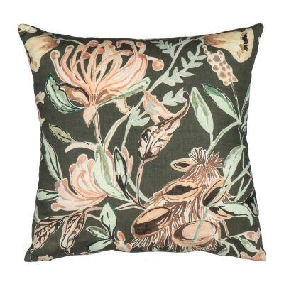 Nahla Cotton Linen Scatter Cushion, Charcoal