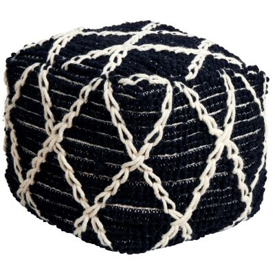 Tallulah Handcrafted Wool Ottoman, Black