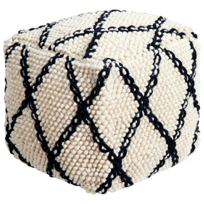 Tallulah Handcrafted Wool Ottoman, Ivory