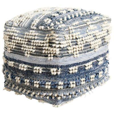 Skye Handcrafted Wool & Denim Ottoman