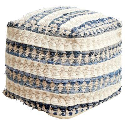Calliope Handcrafted Wool & Denim Ottoman, Blue