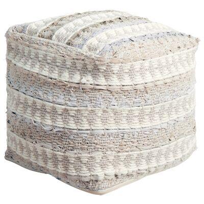 Calliope Handcrafted Wool & Denim Ottoman, Beige