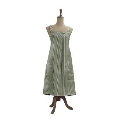 Abby Stripe Fabric Apron, Olive
