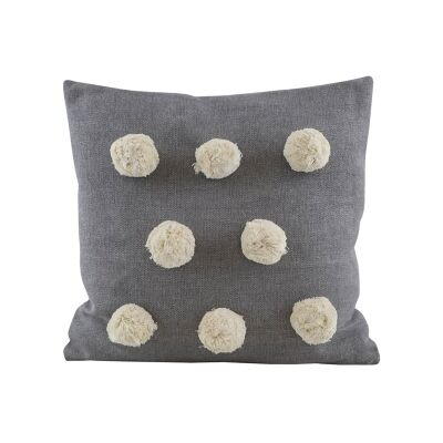 Pom Pom Feather Filled Chambray Cotton Scatter Cushion, Grey