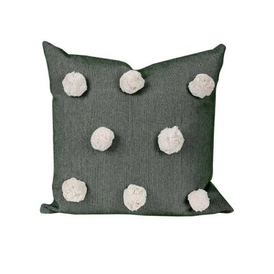 Pom Pom Feather Filled Chambray Cotton Scatter Cushion, Olive