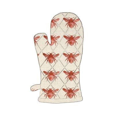 Honey Bee Single Oven Glove, Terracotta / Beige