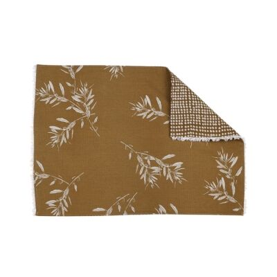 Olive Grove & Cotswold 4 Piece Fabric Placemat Set, Mustard