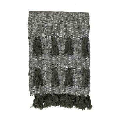 Berkeley Chambray Cotton Slub Throw, 170x130cm, Olive