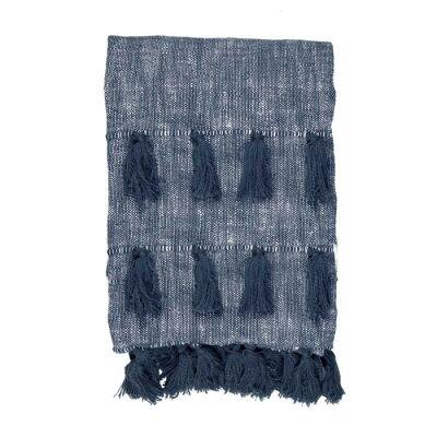 Berkeley Chambray Cotton Slub Throw, 170x130cm, Blue