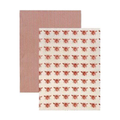 Honey Bee 2 Piece Fabric Tea Towel Set, Terracotta / Beige