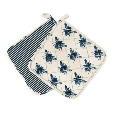 Honey Bee Fabric Trivet, Blue / Beige