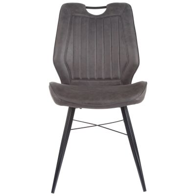 Forthay Fabric & Metal Dining Chair, Charcoal