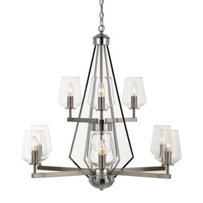 Risley Metal Pendant Light / Chandelier, 9 Light, Nickel