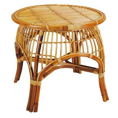 Castro Rattan Round Side Table, Honey