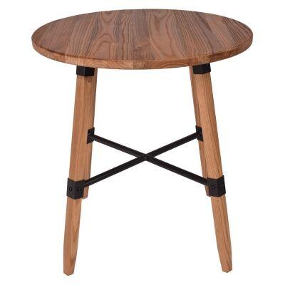Gordon Elm Timber Round Dining Table, 70cm, Natural