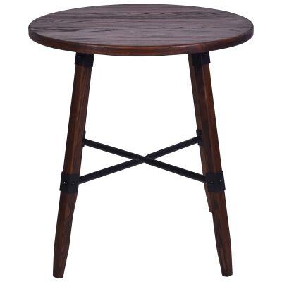 Gordon Elm Timber Round Dining Table, 70cm, Walnut