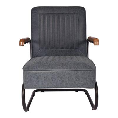 Tesco PU Leather & Metal Armchair, Vintage Blue