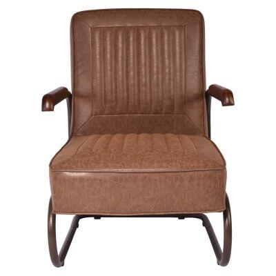 Tesco PU Leather & Metal Armchair, Vintage Brown