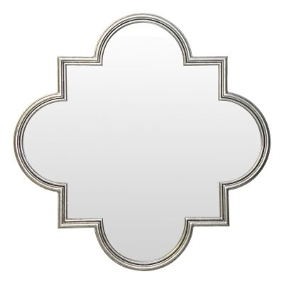 Mahdi Iron Frame Wall Mirror, 109cm, Antique Silver