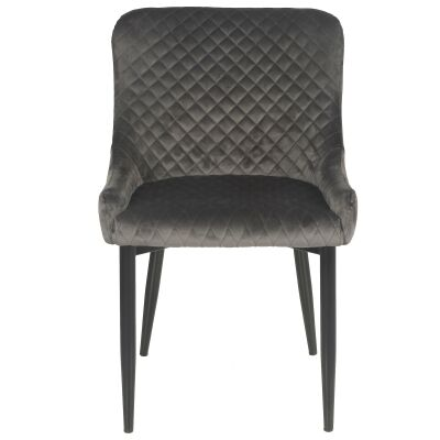 Esme Velvet Fabric Dining Chair, Pebble Grey
