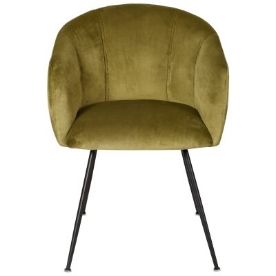 Linn Velvet Fabric Dining Chair, Green