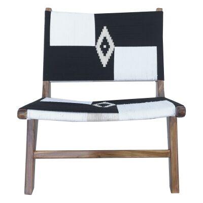 Roxy Woven Cotton & Teak Lounge Chair, Black/White