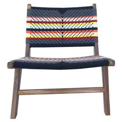 Roxy Woven Cotton & Teak Lounge Chair, Multi