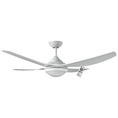 """Ventair Royale II Indoor / Outdoor DC Ceiling Fan with LED Light & Remote Control, 132cm/52"""", White"""