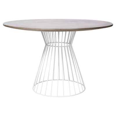 Hamptons Cement Top Iron Indoor / Outdoor Round Dining Table, 120cm, White