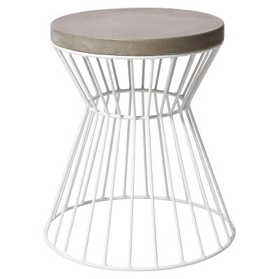 Hamptons Cement Top Iron Indoor / Outdoor Round Dining Stool, White