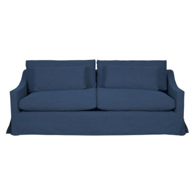 Aveley Fabric Slipcover Sofa, 3.5 Seater, Washed Blue