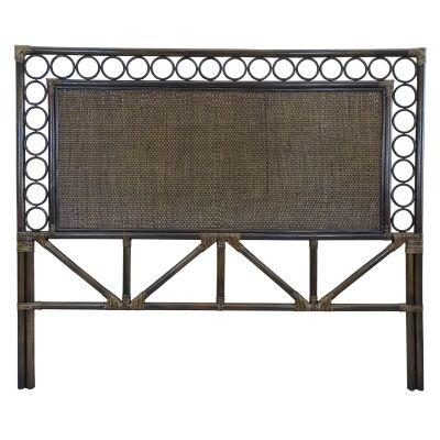 Zoie Bamboo Rattan Bed Headboard, Queen, Cigar