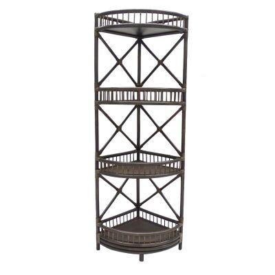 Hawthorne Bamboo Rattan Corner Display Shelf, Cigar