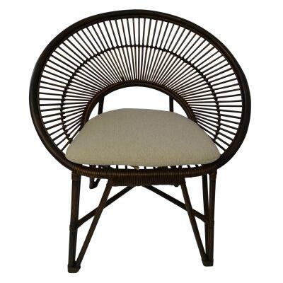 Regis Bamboo Rattan Lounge Chair, Brown