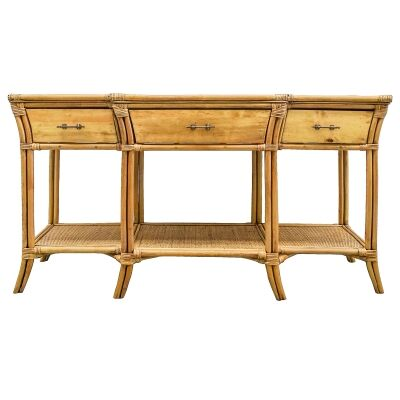 Stamford Bamboo Rattan Console Table, 150cm, Toffee