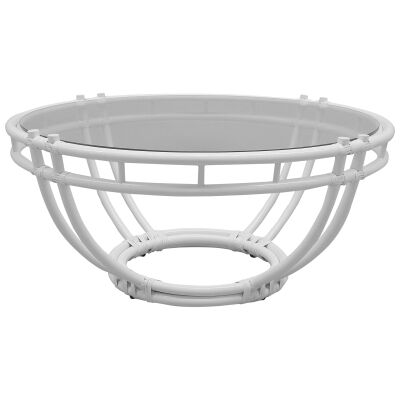 Raffles Glass Topped Bamboo Rattan Round Coffee Table, 103cm, White